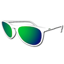 Power Race Fashion Two Cycling Glasses / White / Green Revo