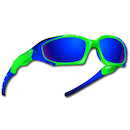 Power Race Maverick Hydrophobic Cycling Glasses / Fluo Green and Blue / Blue Revo