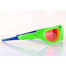 Power Race Maverick Hydrophobic Cycling Glasses / Fluo Green and Blue / Red Revo
