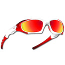 Power Race Maverick Hydrophobic Cycling Glasses / White and Red / Red Revo
