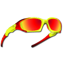 Power Race Maverick Hydrophobic Cycling Glasses / Yellow and Red / Red Revo