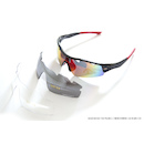 Power Race Mirage Cycling Glasses / Black and Red / Red Polarized / 3 Lenses