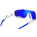 Power Race Star Fighter Hydrophobic Cycling Glasses / White and Blue / Blue Revo