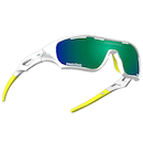 Power Race Star Fighter Hydrophobic Cycling Glasses / White and Green / Green Revo