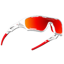 Power Race Star Fighter Hydrophobic Cycling Glasses / White and Red / Red Revo