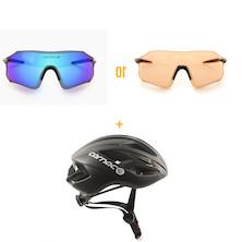 Carnac Equipe Ice Blue Or Orange Glasses With Carnac Notus Race Helmet