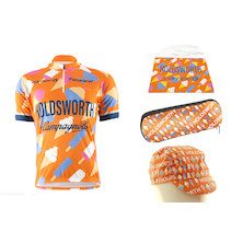 Holdsworth Kids Ice CreamShort Sleeve Jersey, Cap, Musette And Bottle Cage Tool Bag Bundle