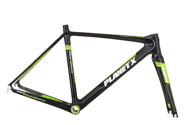 Planet X Maratona Carbon Road Frameset / 48cm / Black And Green (Cosmetic Damage)