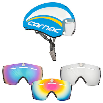 Carnac Blue and White Kronus Time Trial Helmet And 3 Visor Bundle